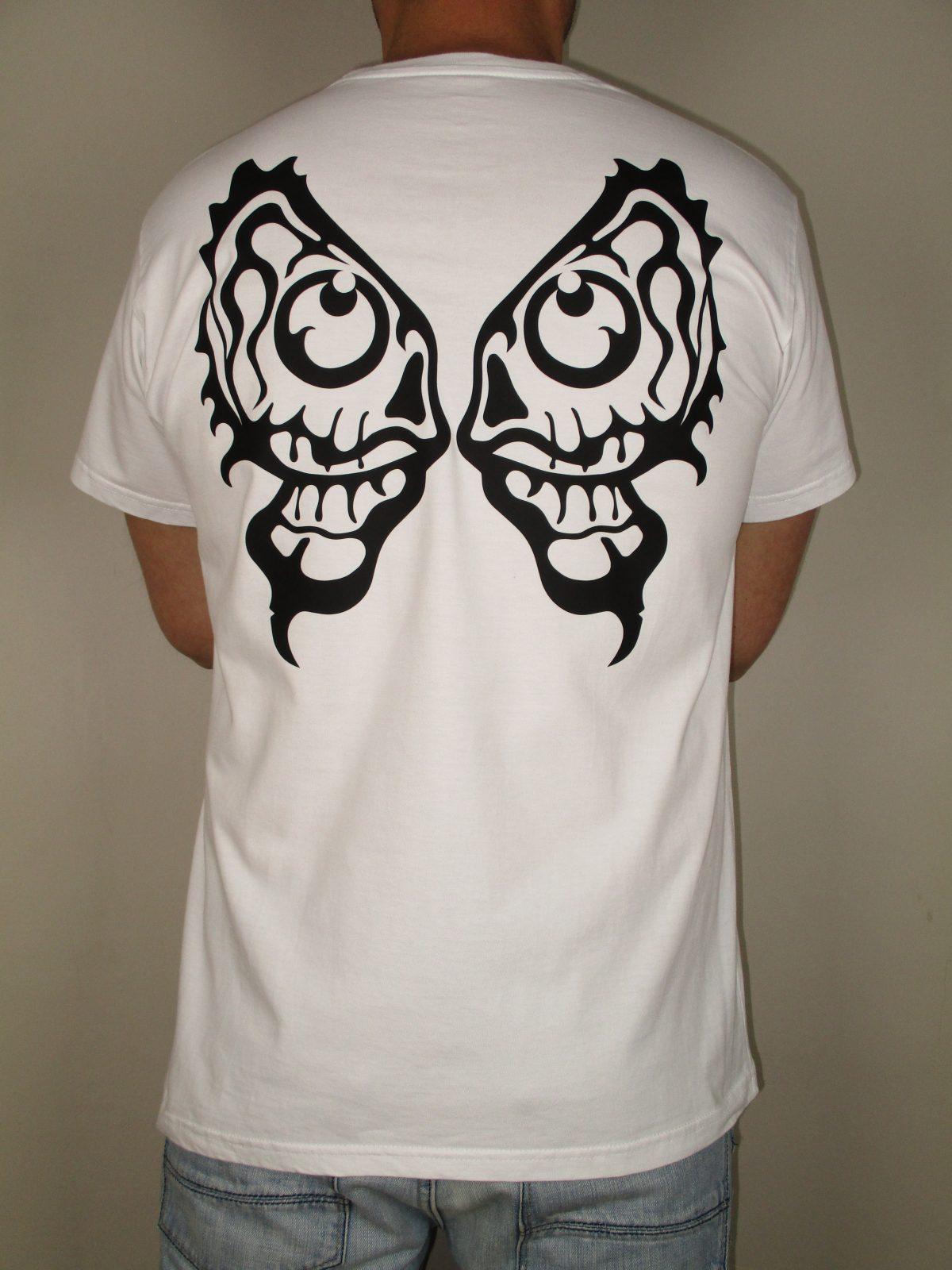 Camiseta EHT Blanca Diseño negro Alas Calavera Harapos Marca registrada Camiseta española Productos españoles Hecho en España