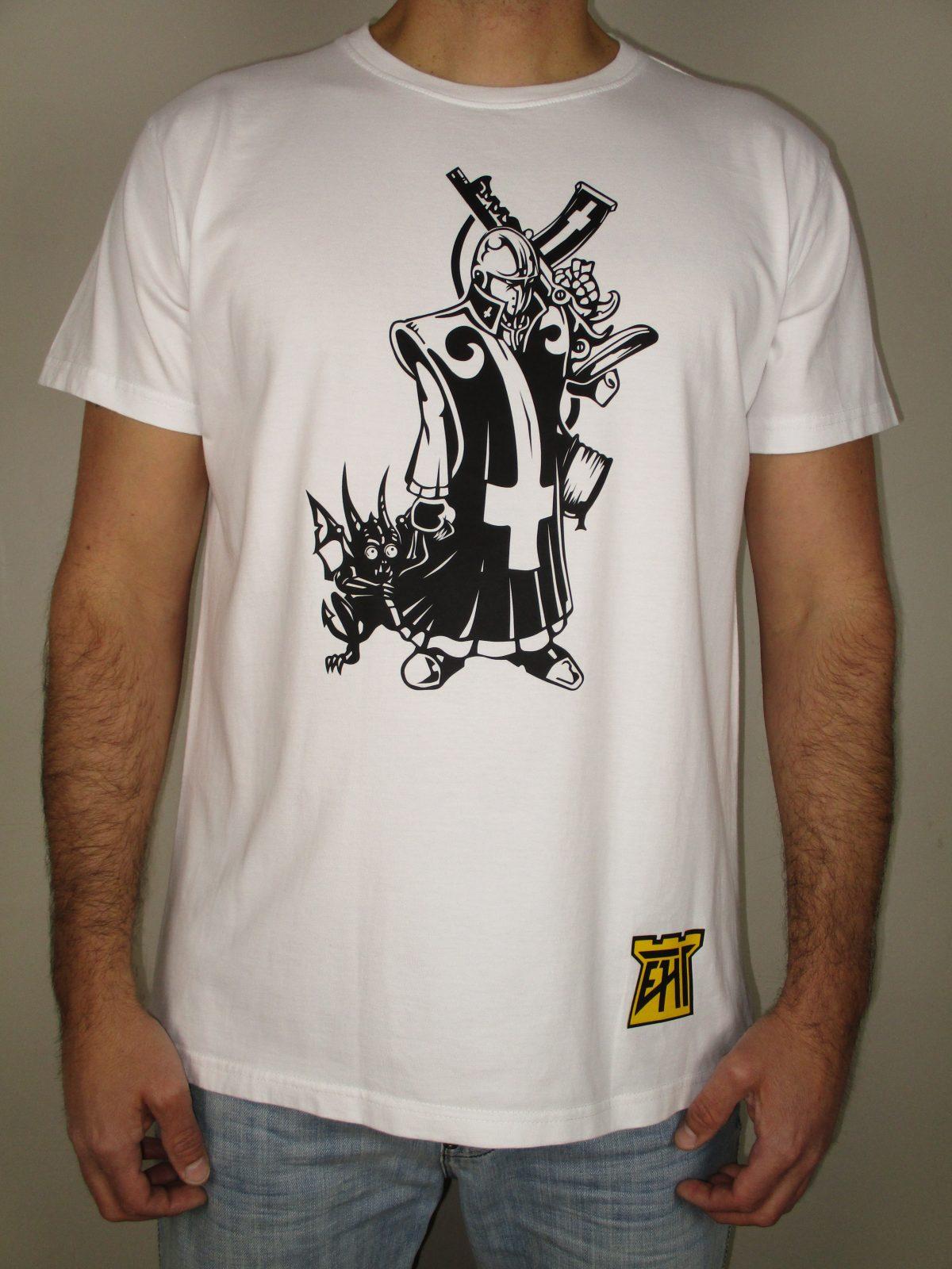 Harapos Triyi EHT Hecho en España Camiseta moderna Calidad Camiseta algodón Clérigo oscuro diablo