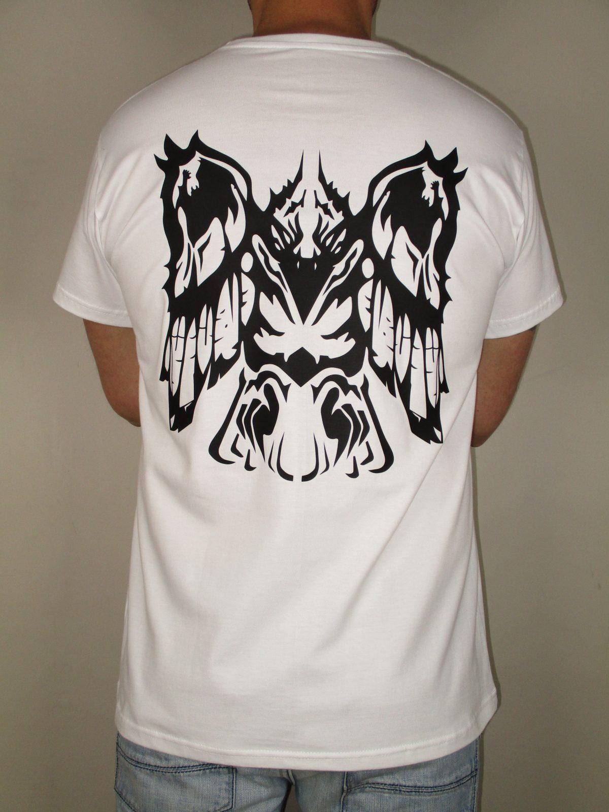EHT Harapos camiseta blanca Totem cuervo lechuza tigre algodón de calidad Hecho en España