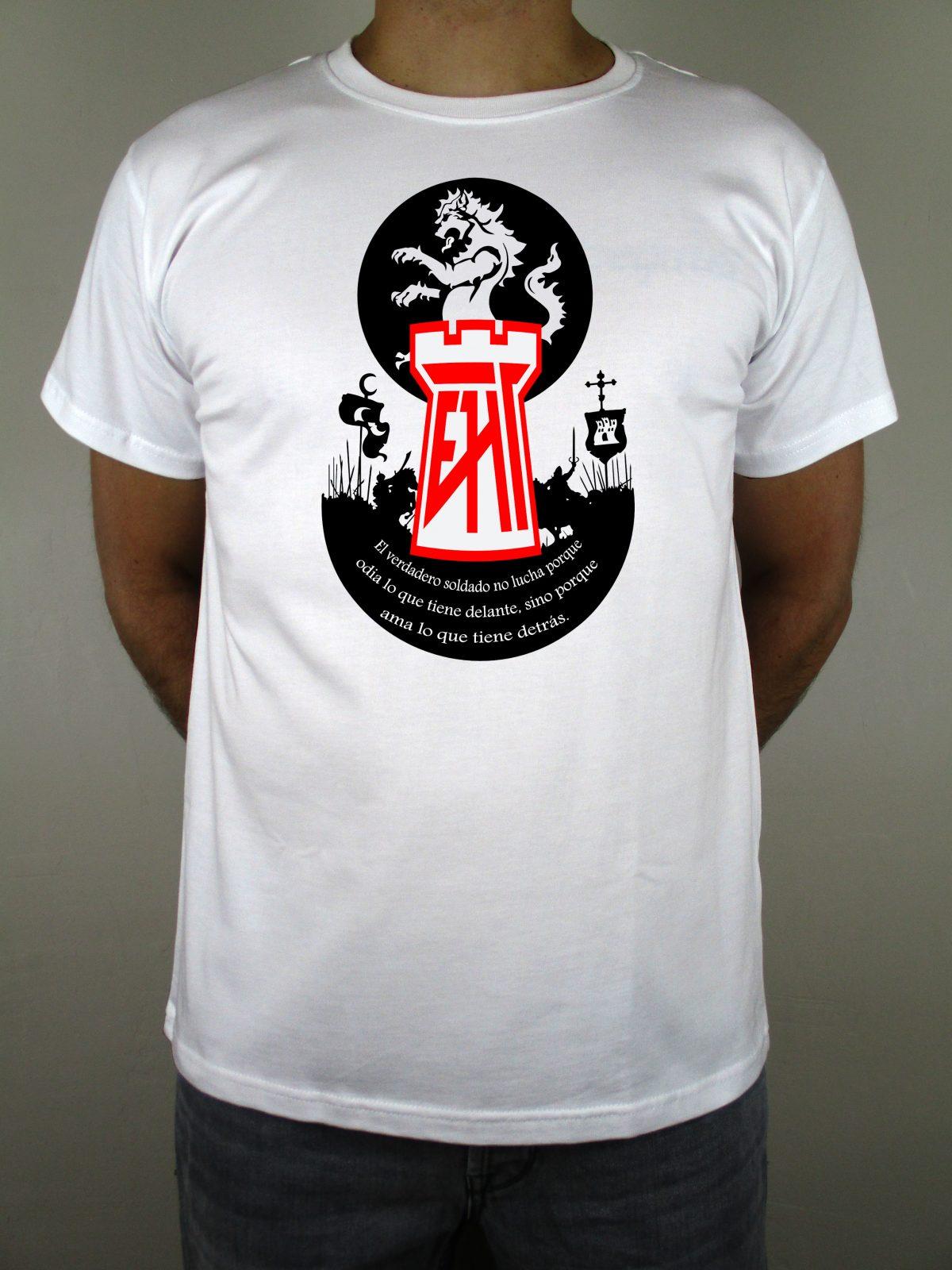 Camiseta blanca EHT homenaje al Cid Campeador. Hecha en España. Algodón 100% de calidad. Las mejores camisetas españolas.